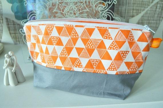 Orange Triangle Mania Make Up Pouch