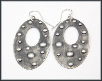 GIADA - Handforged Dimpled & Antiqued Long Pewter Statement Earrings