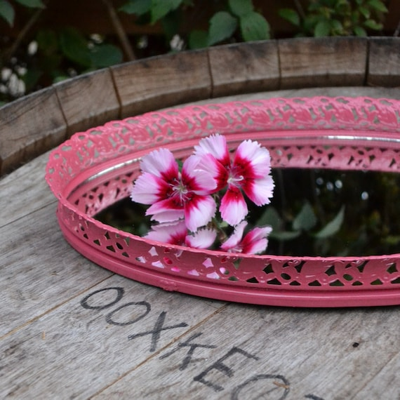 Upcycled Home Decor Vintage Oval Vanity Mirror in Pink