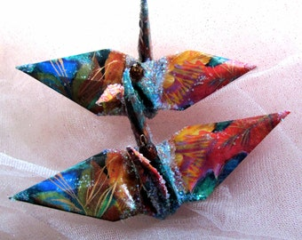 Autumn Leaves Wedding Cake Topper Party Favor Peace Crane Christmas Ornament Origami Bird Paper Anniversary Place Card Holder Decoration