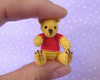 PDF PATTERN - Amigurumi Micro Crochet Tutorial Pattern - Miniature Pooh Bear Jointed and Movable