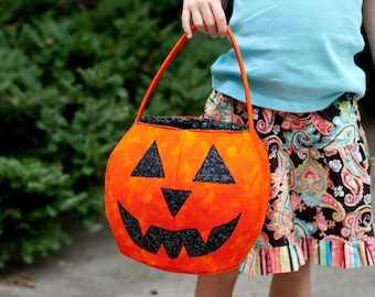 SALE Pumpkin trick or treat bag sewing pattern Halloween DIY PDF basket tutorial Instant Download