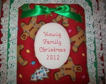 CHRISTMAS Gingerbread Personalized Fabric Photo Album / Scrapbook