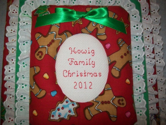 CHRISTMAS Gingerbread Personalized Fabric Photo Album / Scrapbook