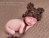 Bear baby hat beige mohair bonnet newborn size Custom order for S