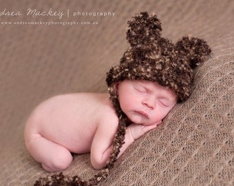 Bear baby hat chocolate brown beanie with ears and ties knitted newborn photography photo prop boy girl unigender teddy animal textured
