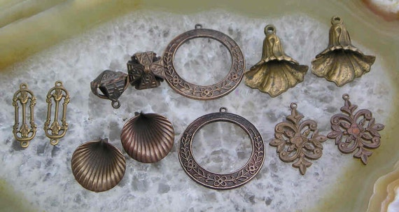 Six pair of beautiful old rosy copper and brass earrings drops..some very rare..