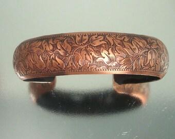 Gorgeous Vintage Detailed Flower Copper Cuff Bracelet