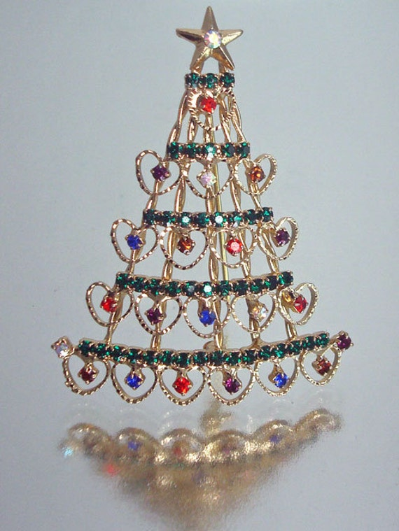 Christmas Tree Brooch Rhinestone Vintage Unused
