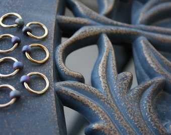 Champagne and Chocolate Set of 10 Lucky Rings Stitch Markers 12mm