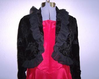 Black Ruffled Jacket, Retro Style Jacket, Black Velvet Jacket, Bolero Jacket, Evening Bolero