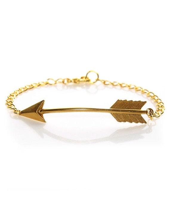 gold arrow bracelet by iadornu on etsy