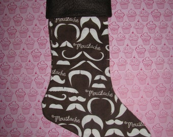 MOUSTACHE Christmas Stocking, Holiday Decor, Stash Mustache Brown Cream