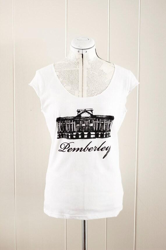 SALE - Medium - Pemberley scoop neck tshirt - Jane Austen - Pride and Prejudice - Mr. Darcy