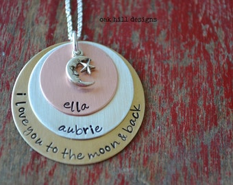 stamped necklace-custom personalized jewelry-I love you to the moon and back with charm