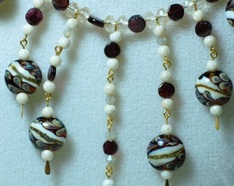 Grace Beads Garnet and Glass Necklace