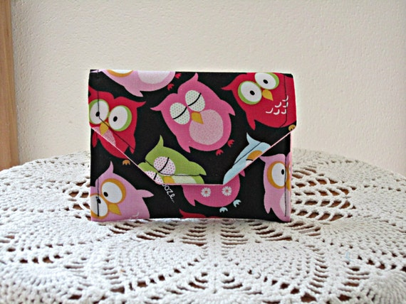 Wallet Coin Purse Gift Card Case Credit Card Case Owls Made in USA