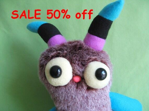 SALE 50% off striped horns Monster stuffed animal