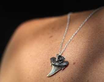 Silver Shark tooth with rose, tribal sterling pendant, shark tooth necklace, shark tooth jewelry, Made to order