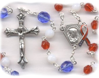 The Liberty Rosary - Red, White, Blue  (Czech Glass) - Raising Money for Veterans in Need