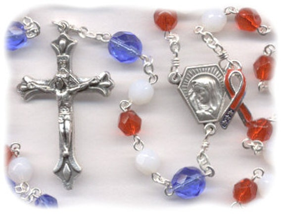 The Liberty Rosary - Red, White, Blue  (Czech Glass) - For Charity