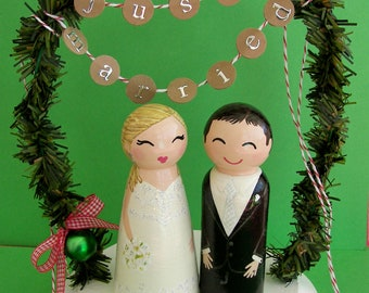 Hand Painted Love Boxes Custom Christmas Wedding Cake Toppers Stand and Bunting to match