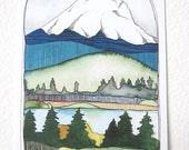 Postcards - Mt. Hood Postcards - Oregon Postcards - Mt Hood Illustration - Illustrated Oregon Postcards - Set of 3 Mt. Hood Postcards