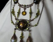 RESERVED - EYE Of MIDNIGHT Vintage Glass Nouveau Serpent Necklace - Reflections Of Myth And The Deep South -  cvc ooak
