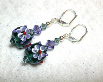Tanzanite Purple Earrings Indian Sapphire Lampwork Earrings Cubes Swarovski Crystals Silver Leverback Hooks