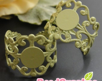 FN-RB-09039 - Nickel Free, Mint enameled Art Nouveau Filigree ring base with 8mm glue on pad, 10 pcs