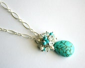 Turquoise Teardrop Necklace, Gemstone Clusters, Blue White, Bridesmaid Gift, Wedding Jewelry