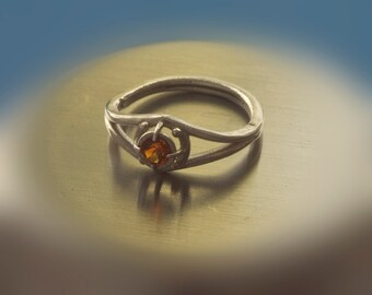 Sterling Silver and Fire Citrine Ring - Size 4 US