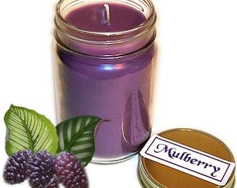 Mulberry Mason Jar Candle Fruit Scent 12 Oz Handmade