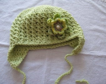 Crochet Girl's Hat with Earflaps and Interchangeable Flowers