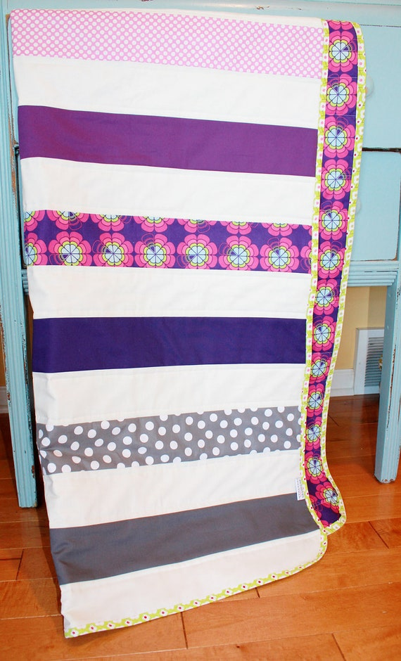 Sale modern baby quilt by petunias violet gray by petunias - Vintage antique baby room ideas timeless charm appeal ...