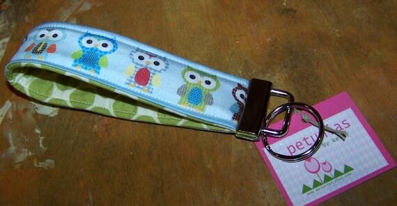 PETUNIAS' Key Fob - keyfob key chain owls purse accessories fabric gift wristlet