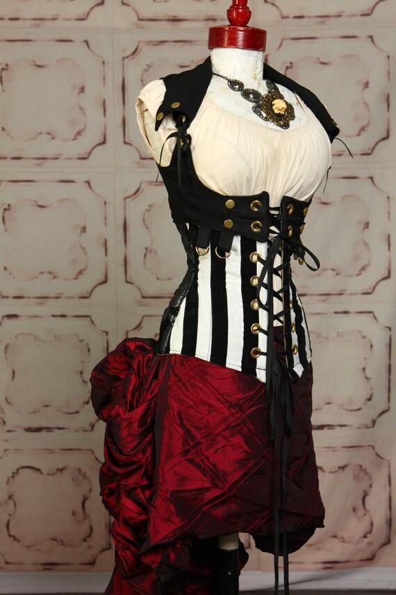 Deep Crimson Mini Bustle Skirt