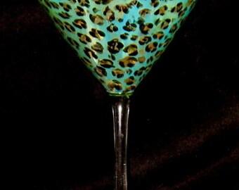 Hand Painted Turquoise Leopard Print 12 oz Martini Glass Dishwasher safe - Original Design - Zebra Print Base