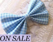 SALE was 8.00 now 6.00 - HAIR BOW - blue checkered dainty gingham