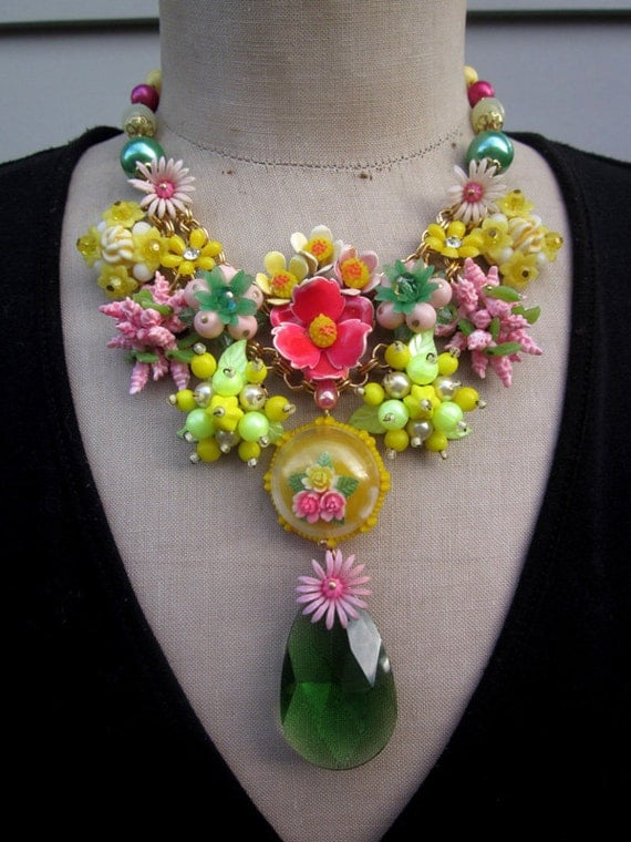 Vintage Flower Bib Statement Necklace - Neon