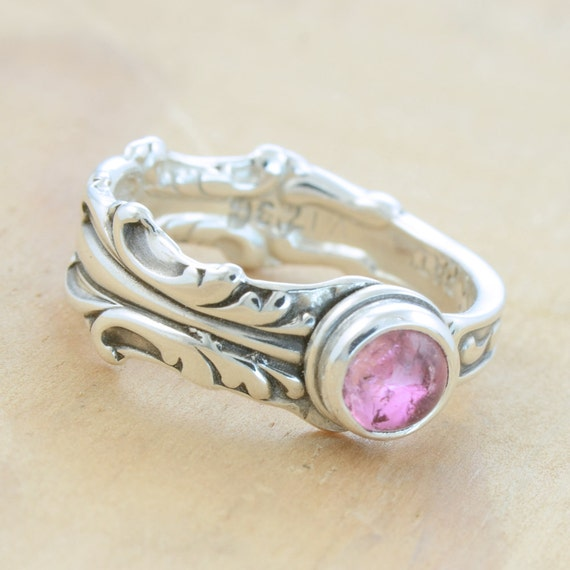 Spoon Ring with Pink Tourmaline, Upcycled Sterling Silver, Size 5
