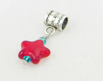 Handmade red glass star large hole dangle charm bead for European bracelets and necklaces