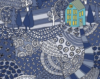 island house revisited in blue archival print