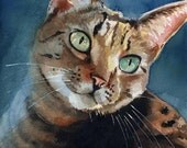 Brown Tabby Cat Art Print of my watercolor painting Artwork Artist reproduction gift cat lover