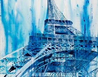 Print Giclee Paris Eiffel Tower Blue landscape french france Painting Huge Big Large