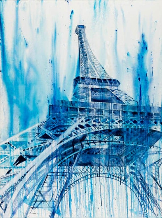 Original large huge Paris Eiffel Tower Blue Landscape French France Painting No Frame Needed