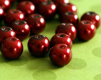 50pcs 8mm Burgundy Pearlized Glass Beads HY8mm86