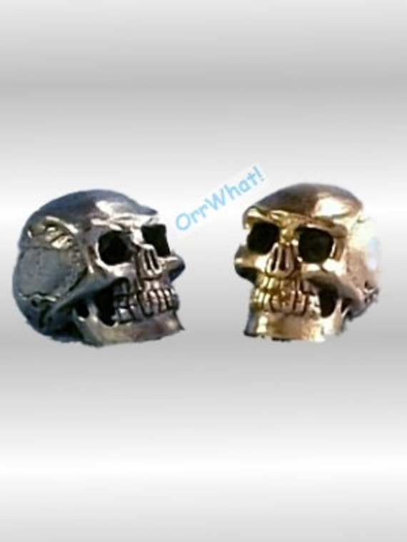 10 Pewter 15mm Skull Beads Biker Goth Punk Silver or Gold, vertical--Large w/small hole
