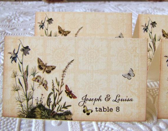 Wedding Reception Tented Place Card Escort Card Vintage Botanical Garden Butterflies Flowers