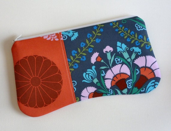 Zipper Pouch Josephine's Bouquet in Ink Amy Butler Cameo
